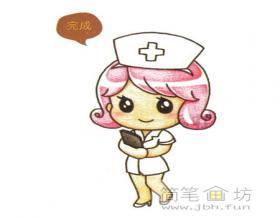 漂亮的卡通护士小姐姐简笔画画法教程