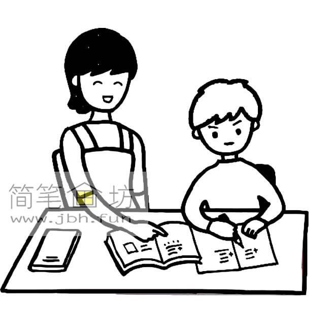 老妈让我干_简笔画:妈妈陪我做作业
