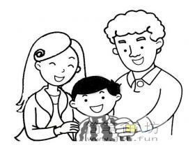 儿童简笔画:爸爸妈妈和我
