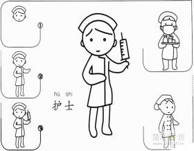 简笔画护士的画法步骤教程
