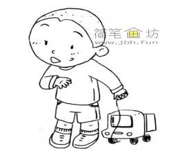 拉着小车的小男孩简笔画