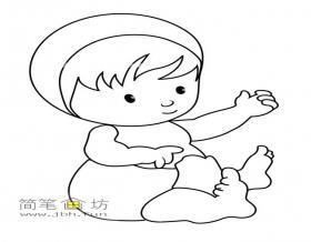 可爱的小婴儿的简笔画图片