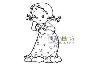 穿着睡衣的可爱小女孩的简笔画图片