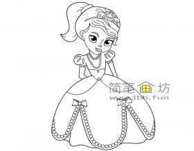 美丽的白雪公主的简笔画素材1幅