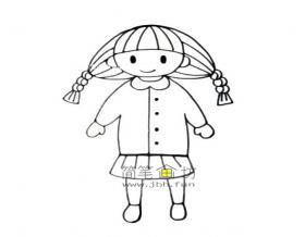 扎着辫子的小女孩的简笔画图片