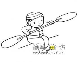 练习划船的小男孩简笔画图片