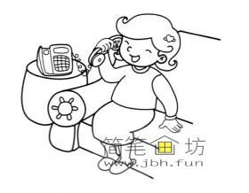 妈妈在打电话简笔画图片
