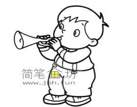 吹喇叭小男孩简笔画图片