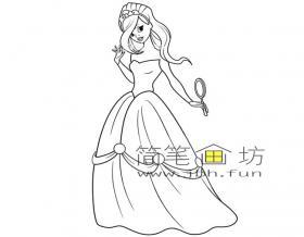 梳妆的漂亮公主简笔画图片