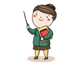 女老师简笔画【彩色】