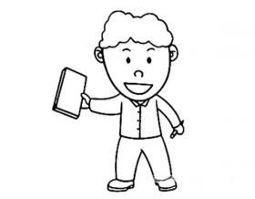 学习的小男孩简笔画图片