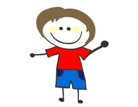 活泼的小男孩简笔画图片【彩色】