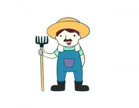 农场主简笔画图片【彩色】