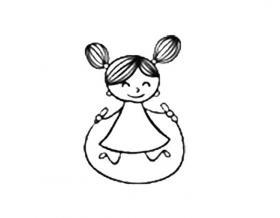 跳绳的小女孩简笔画