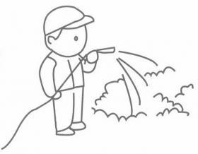 园丁浇水简笔画图片