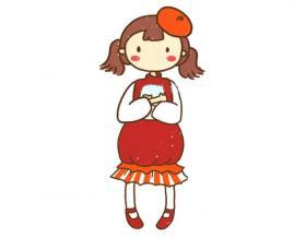 小女孩简笔画图片【彩色】