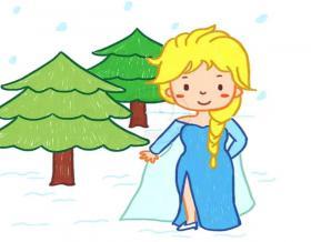 冰雪奇缘公主简笔画图片【彩色】