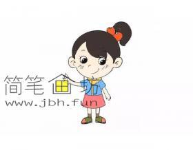 扎着马尾辫的可爱的小女孩的简笔画教程