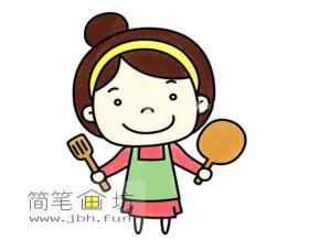 做饭妈妈的简笔画教程【彩色】