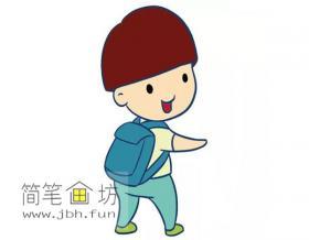 背着书包的可爱的小男孩的简笔画