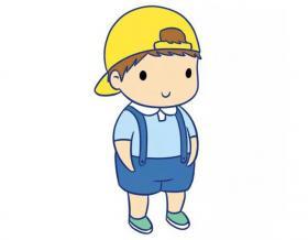 彩色卡通小男孩的简笔画素材