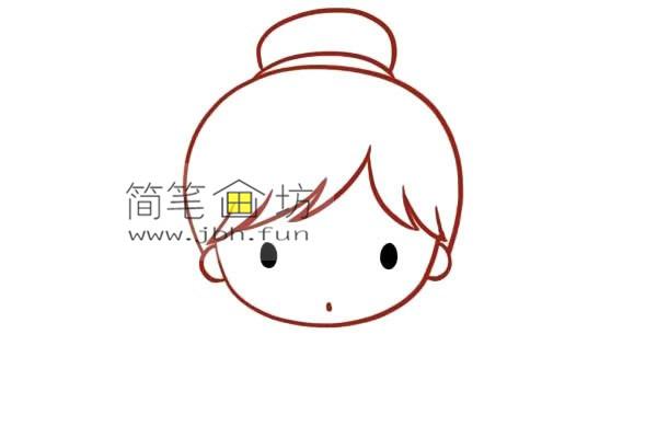 彩色丸子头的小女孩的简笔画教程(3)