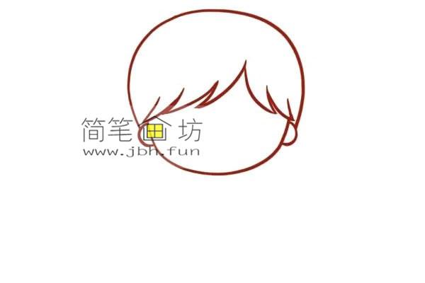 彩色丸子头的小女孩的简笔画教程(2)