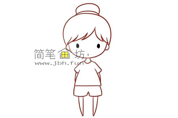 彩色丸子头的小女孩的简笔画教程(5)