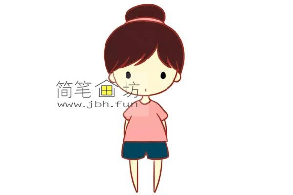 彩色丸子头的小女孩的简笔画教程(6)
