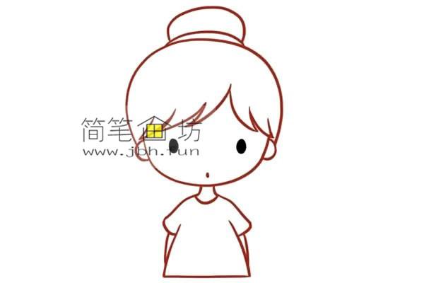 彩色丸子头的小女孩的简笔画教程(4)