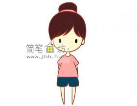 彩色丸子头的小女孩的简笔画教程