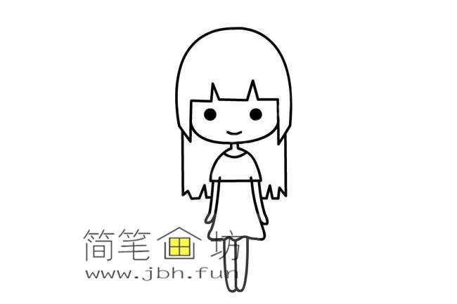 可爱的长发小女孩的简笔画画法教程【彩色】(5)