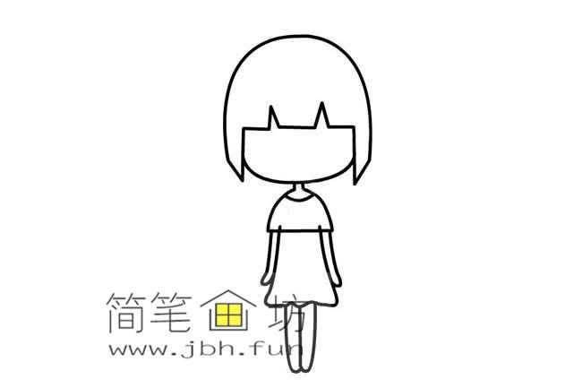 可爱的长发小女孩的简笔画画法教程【彩色】(4)