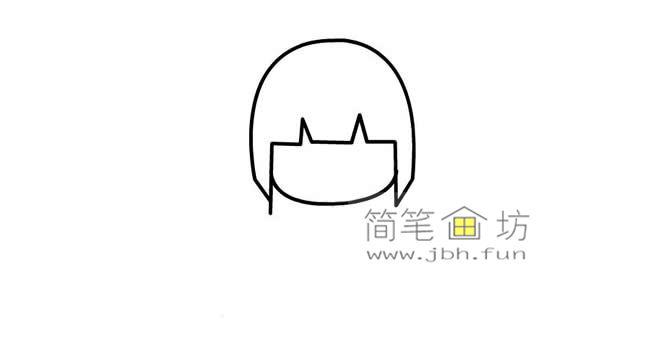 可爱的长发小女孩的简笔画画法教程【彩色】(2)