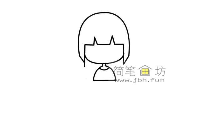 可爱的长发小女孩的简笔画画法教程【彩色】(3)