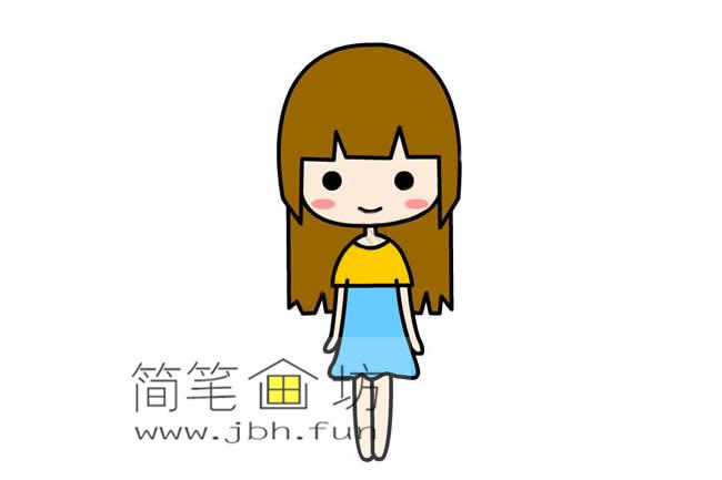 可爱的长发小女孩的简笔画画法教程【彩色】(6)
