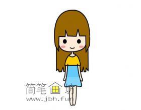 可爱的长发小女孩的简笔画画法教程【彩色】