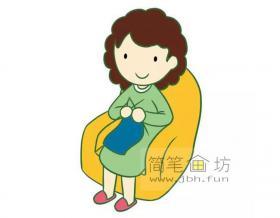 漂亮妈妈的简笔画图片【彩色】