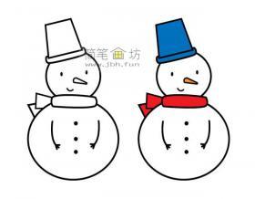 雪人的简笔画图片大全【彩色】