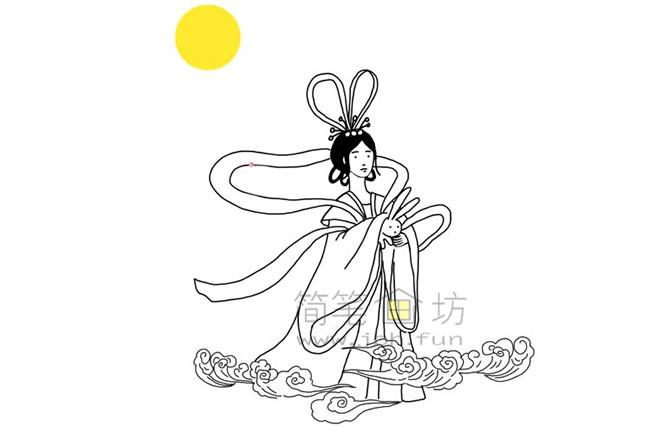 嫦娥奔月简笔画教程【彩色】(5)