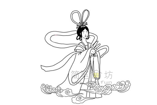 嫦娥奔月简笔画教程【彩色】(4)
