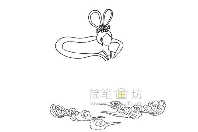 嫦娥奔月简笔画教程【彩色】(3)