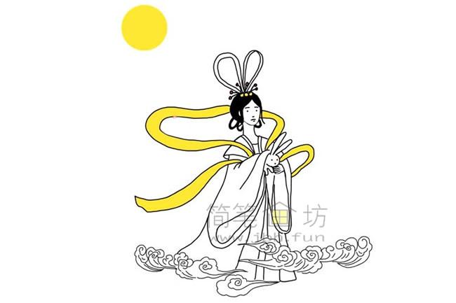 嫦娥奔月简笔画教程【彩色】(6)