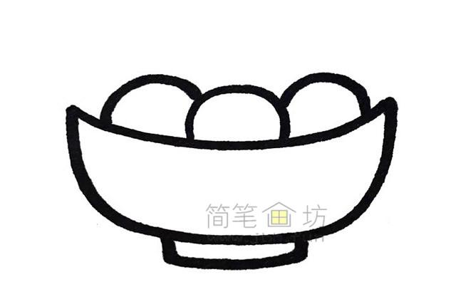 吃汤圆小女孩简笔画教程【彩色】(2)
