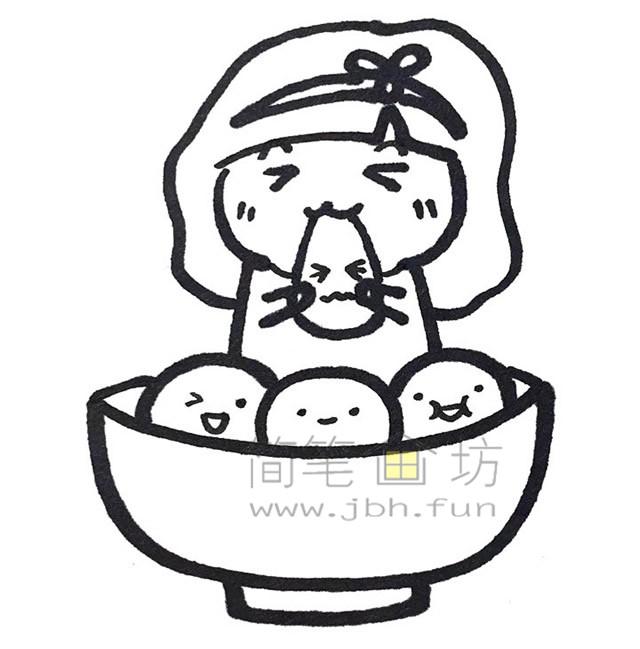 吃汤圆小女孩简笔画教程【彩色】(3)