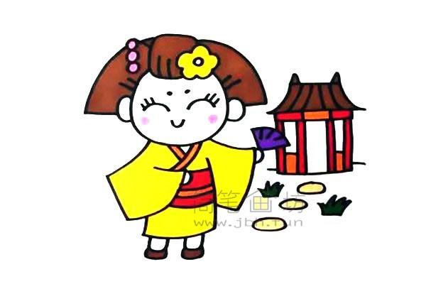穿和服的日本小女孩简笔画画法【彩色】