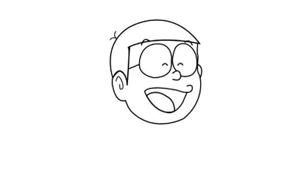 哆啦A梦大雄简笔画教程步骤大全【彩色】(2)