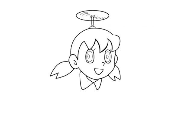 简单几步学会画哆啦A梦静香简笔画【彩色】(2)