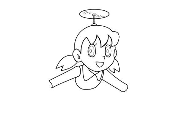 简单几步学会画哆啦A梦静香简笔画【彩色】(3)