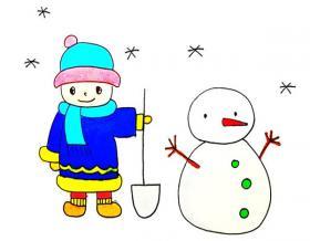 堆雪人的小男孩简笔画画法【彩色】